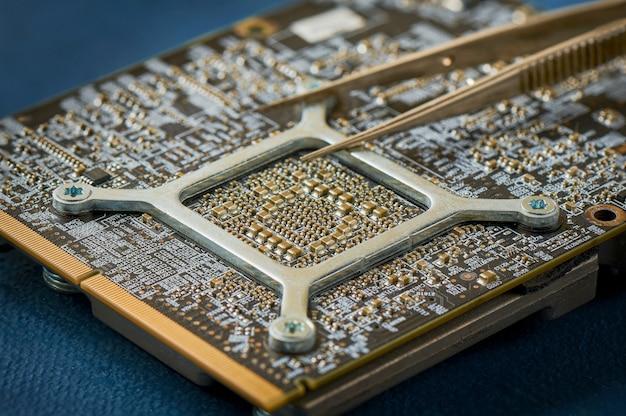 Placa de circuito eletrônico close-up