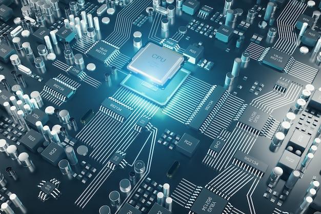 Placa de circuito. fundo de tecnologia. conceito de cpu de processadores de computador central. chip digital da placa-mãe. fundo de ciência da tecnologia. processador de comunicação integrado. ilustração 3d