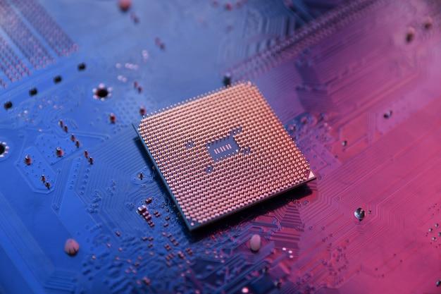 Placa de circuito. fundo de tecnologia. conceito de cpu de processadores de computador central. chip digital da placa-mãe.