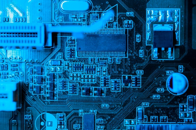 Placa de circuito no tema azul com slot