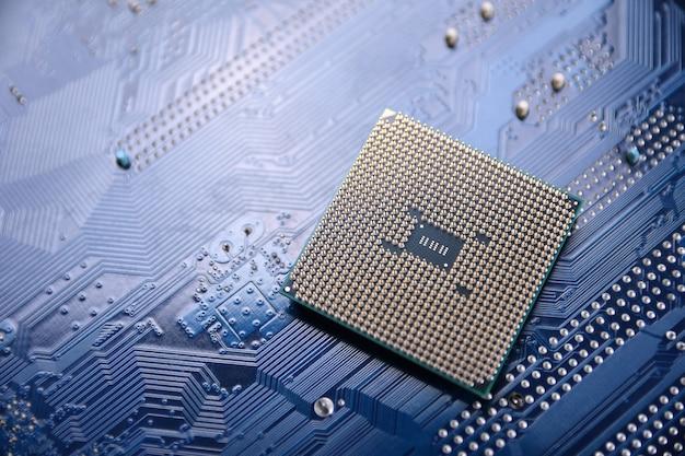 Placa de circuito. tecnologia. conceito de cpu de processadores de computador central. chip digital da placa-mãe.ai.close up