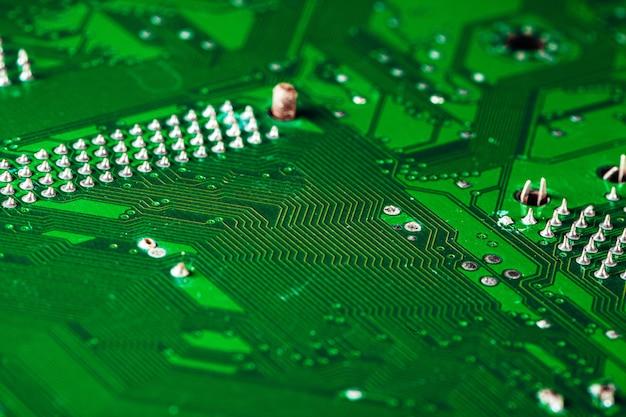 Placa de circuito verde de um computador