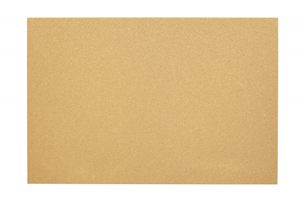 Placa de cortiça em branco com um frame de madeira isolado no fundo branco