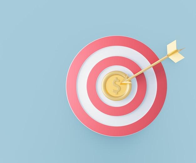 Placa de dardo vermelha com moeda de ouro e dardo de ouro. conceito de sucesso empresarial. renderização da ilustração 3d da ideia criativa.