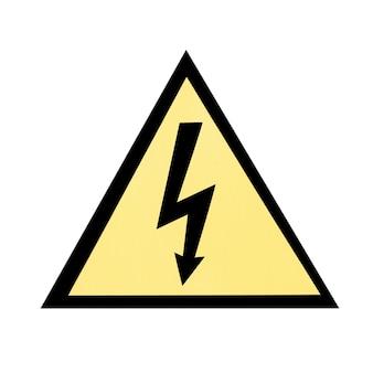 Placa de emergência elétrica amarela isolada no branco