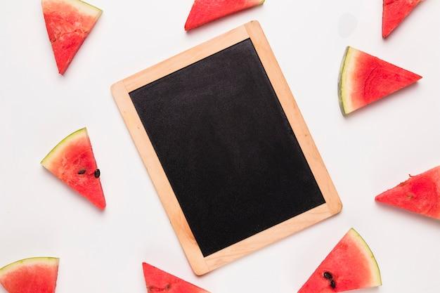 Placa de giz e fatias de melancia