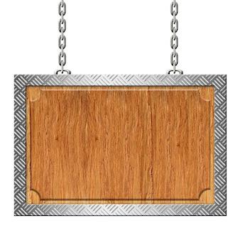 Placa de madeira com aro de placa de diamante de aço nas cadeias