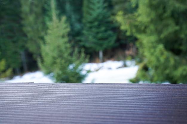 Placa de madeira em um fundo de uma floresta com neve