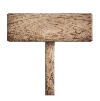 Placa de madeira isolada no fundo branco