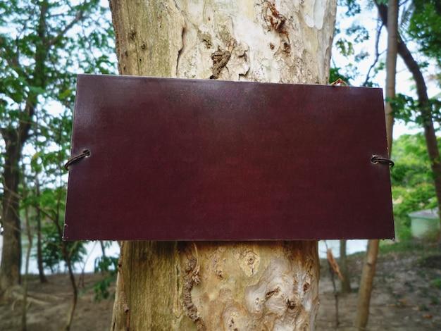 Placa de madeira marrom em branco close-up para mostrar informações no tronco de árvore