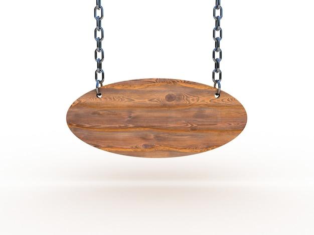 Placa de madeira pendurada em correntes