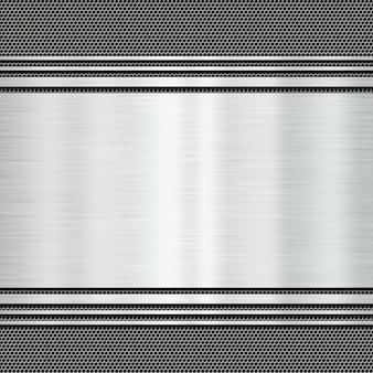Placa de metal brilhante em um fundo de grunge