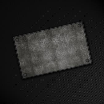 Placa de metal grunge em um fundo de fibra de carbono
