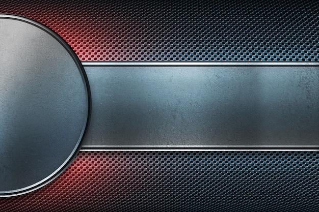 Placa de metal perfurada com placa de metal redonda e retangular polida.