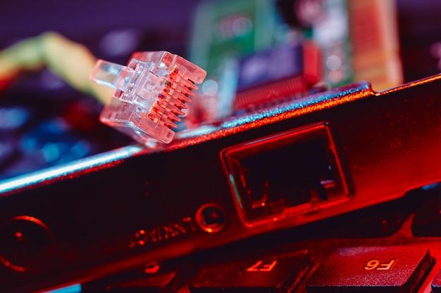Placa de rede lan e conector de cabo closeup em luz colorida