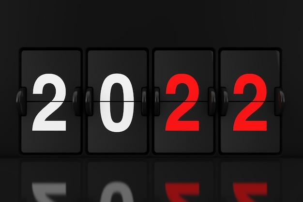 Placa de relógio analógico mecânico flip com 2022 close up extremo do sinal de ano novo. renderização 3d