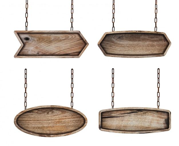 Placa de sinais de madeira com corrente no fundo branco