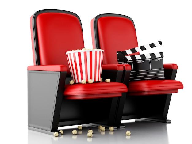 Placa de válvula do cinema 3d e pipoca no assento do teatro.