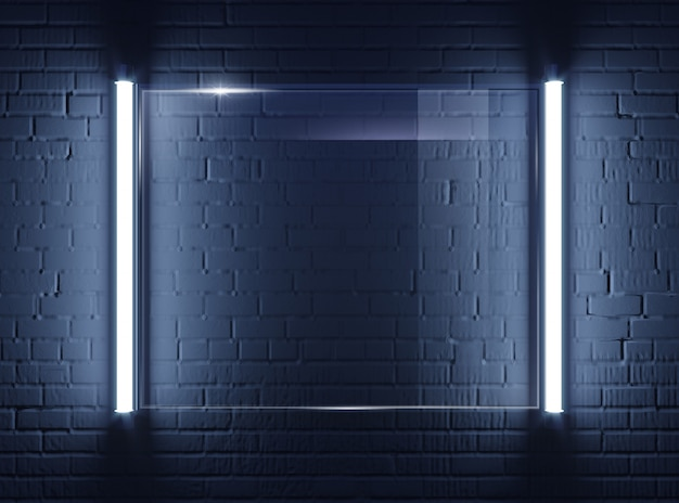 Placa de vidro iluminado na parede de tijolo