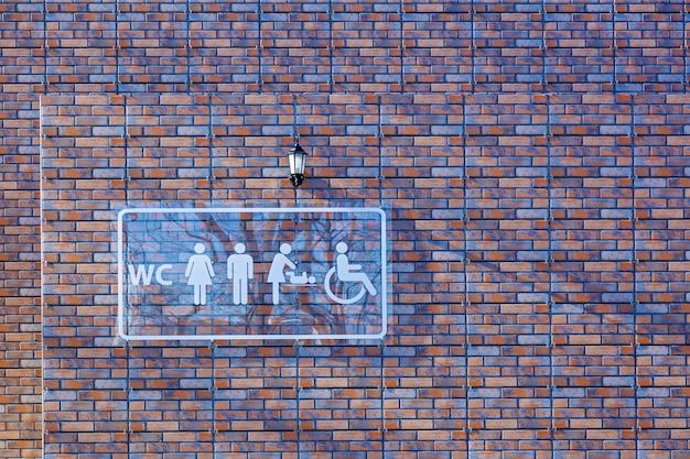 Placa de vidro para banheiro público com símbolo de acesso para deficientes e mulher com bebê