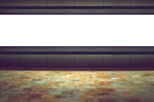 Placa do espaço vazio no fundo escuro na sala de exposições