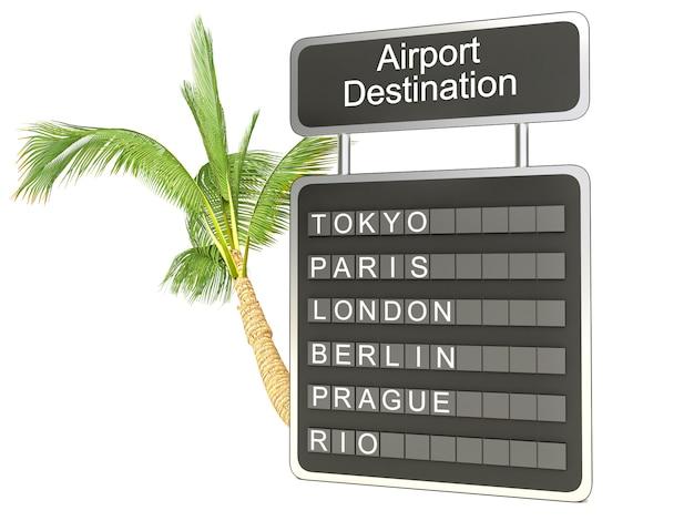 Placa e palmeira do aeroporto