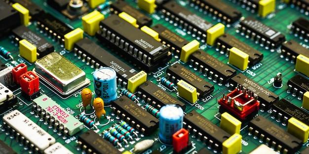 Placa eletrônica placa de circuito eletrônico close-up
