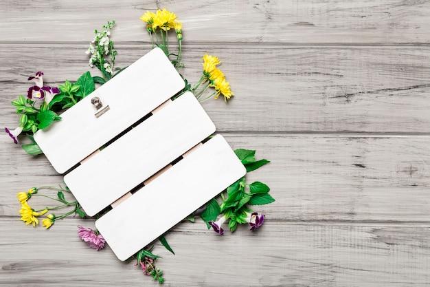 Placa em branco e lindas flores