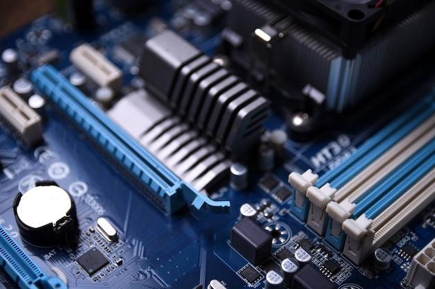 Placa-mãe do computador e componentes eletrônicos