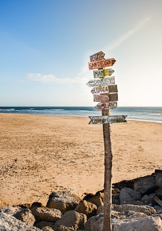 Placa na praia indicando diferentes países ao pôr do sol