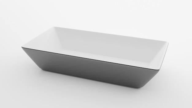Placa quadrada de cerâmica vazia em branco, ilustração 3d