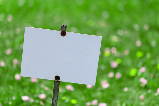 Placa sobre um fundo de relva verde. lugar para texto.