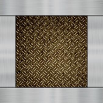 Placas de metal brilhante sobre um fundo de fibra de carbono