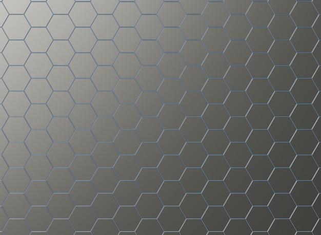 Placas de metal hexagonais com luz de neon azul.