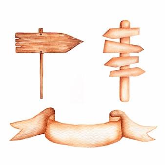 Placas e setas de madeira do sinal da aquarela ajustadas. fita da aquarela coleção pintado à mão do clipart de madeira das pranchas.
