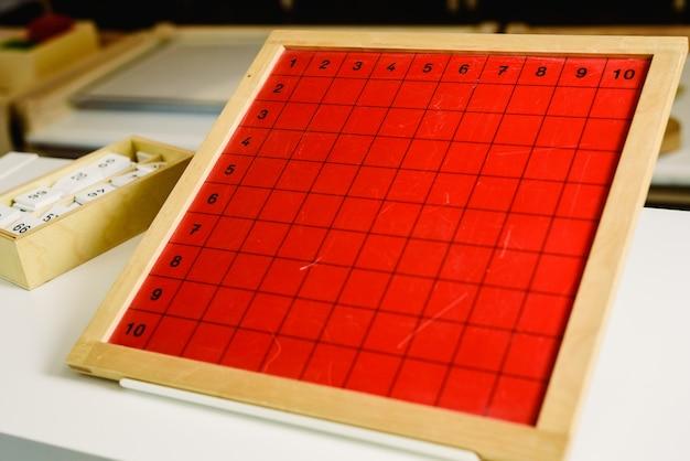 Placas gráficas para aprender matemática em uma escola montessori de educação alternativa.