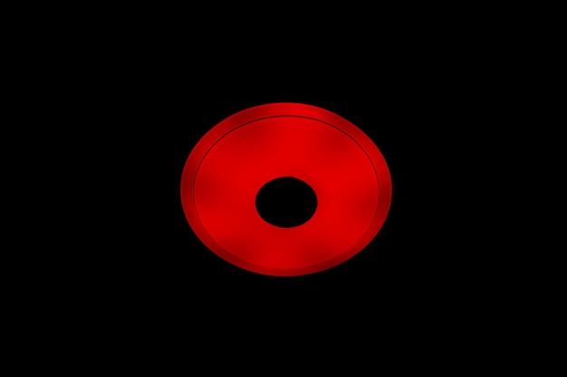 Plafon led com luz vermelha com alto-falantes sem fio integrados sobre fundo preto.