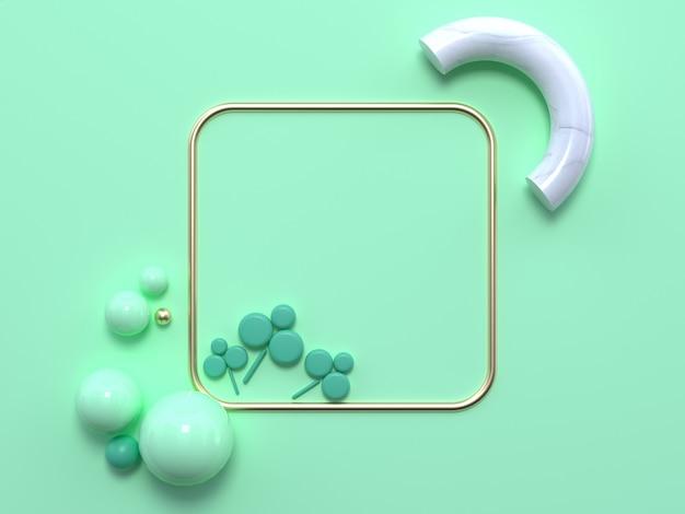 Plana leigos macio verde pastel cena abstrata forma geométrica ouro branco mármore 3d renderização quadrados moldura verde leaft