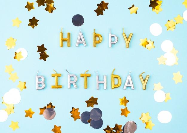 Plana velas de feliz aniversário