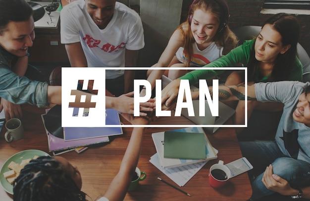 Planeamento plano parceria hashtag word