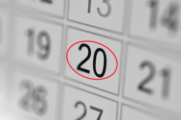 Planejador calendário prazo dia da semana em papel branco 20