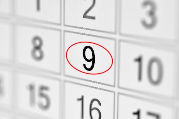Planejador calendário prazo dia da semana em papel branco 9