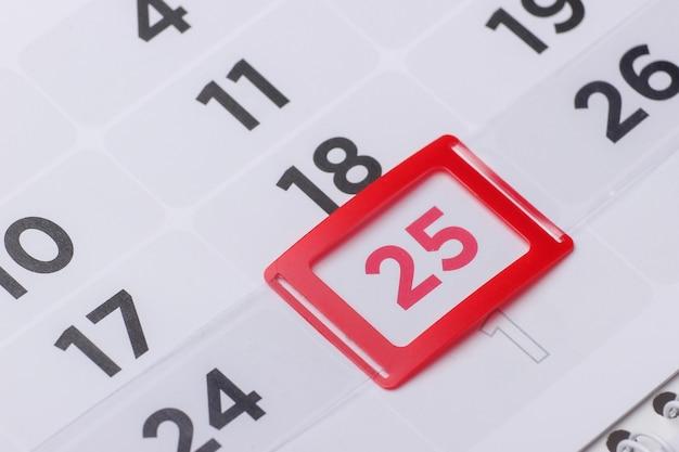 Planejador de calendário para o mês, 25 dias do mês, natal