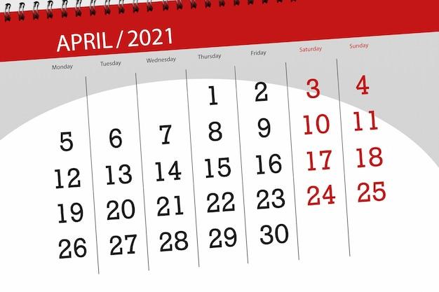 Planejador de calendário para o mês de abril de 2021, dia do prazo final.
