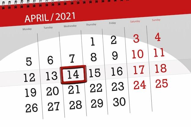 Planejador de calendário para o mês de abril de 2021, prazo final, 14, quarta-feira.