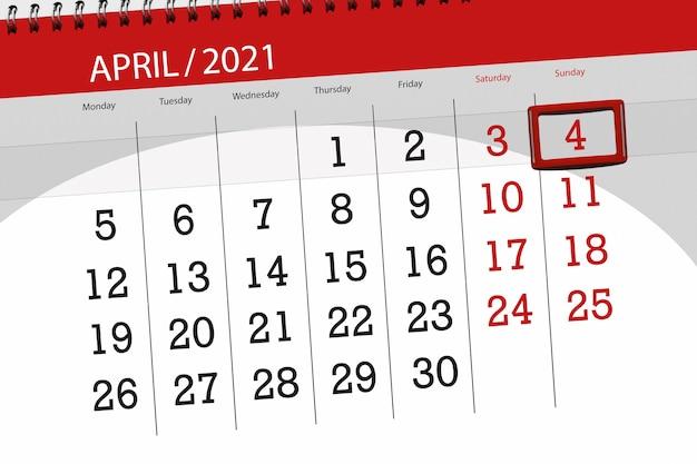 Planejador de calendário para o mês de abril de 2021, prazo final, 4, domingo.