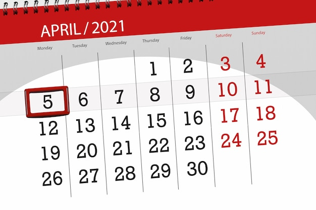 Planejador de calendário para o mês de abril de 2021, prazo final, 5, segunda-feira.