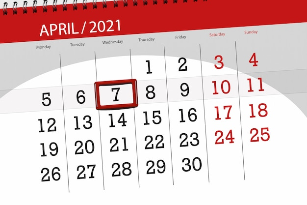 Planejador de calendário para o mês de abril de 2021, prazo final, 7, quarta-feira.