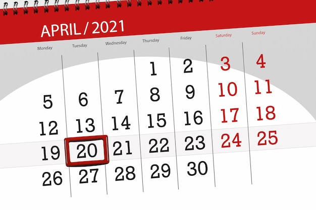 Planejador de calendário para o mês de abril de 2021, prazo final dia, 20, terça-feira.