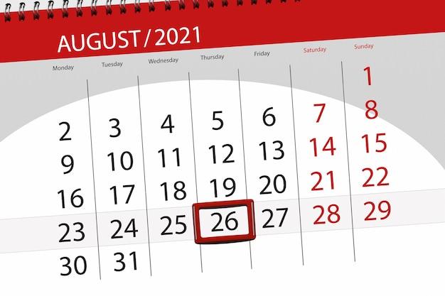Planejador de calendário para o mês de agosto de 2021, prazo final dia, 26, quinta-feira.